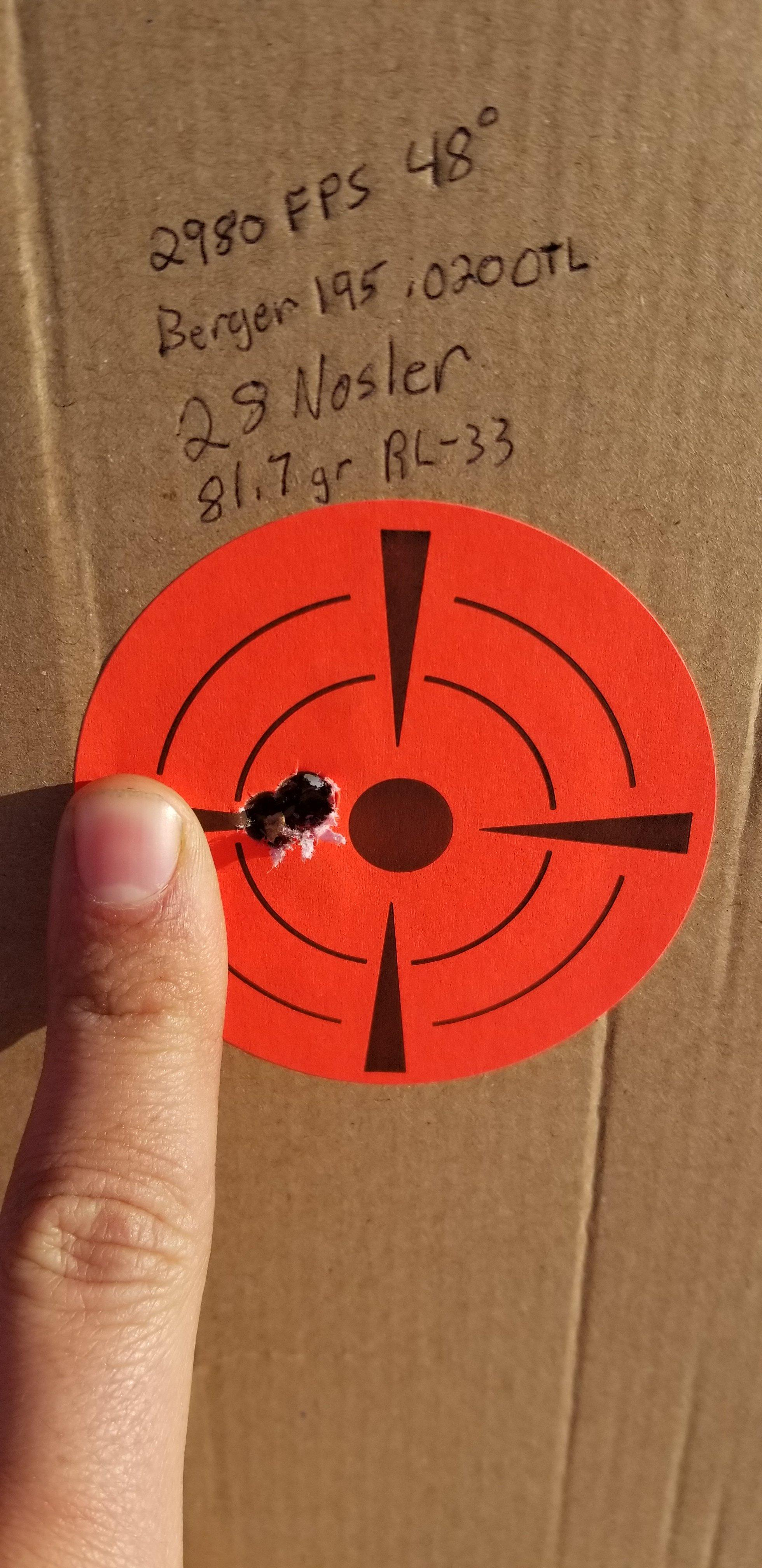 28 Nosler - Best accuracy/Velocity powder - 8133 or R33, or