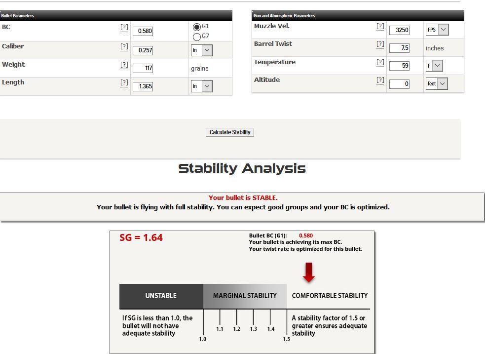 Cayuga 117 on Berger SG calculator 1 of 3 0 sea level.JPG