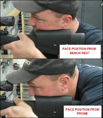 angle difference between bench rest & prone